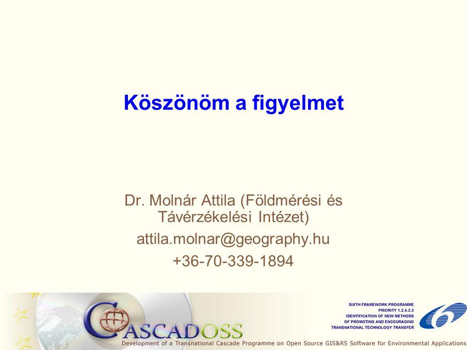 Dr. Molnár Attila (Földmérési és Távérzékelési Intézet) attila.molnar@geography.hu +36-70-339-1894 Köszönöm a figyelmet