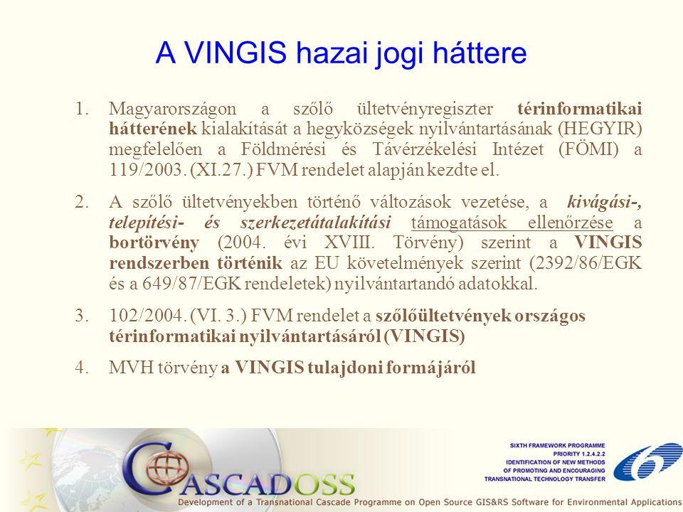 1.Magyarországon a szőlő ültetvényregiszter térinformatikai hátterének kialakítását a hegyközségek nyilvántartásának (HEGYIR) megfelelően a Földmérési