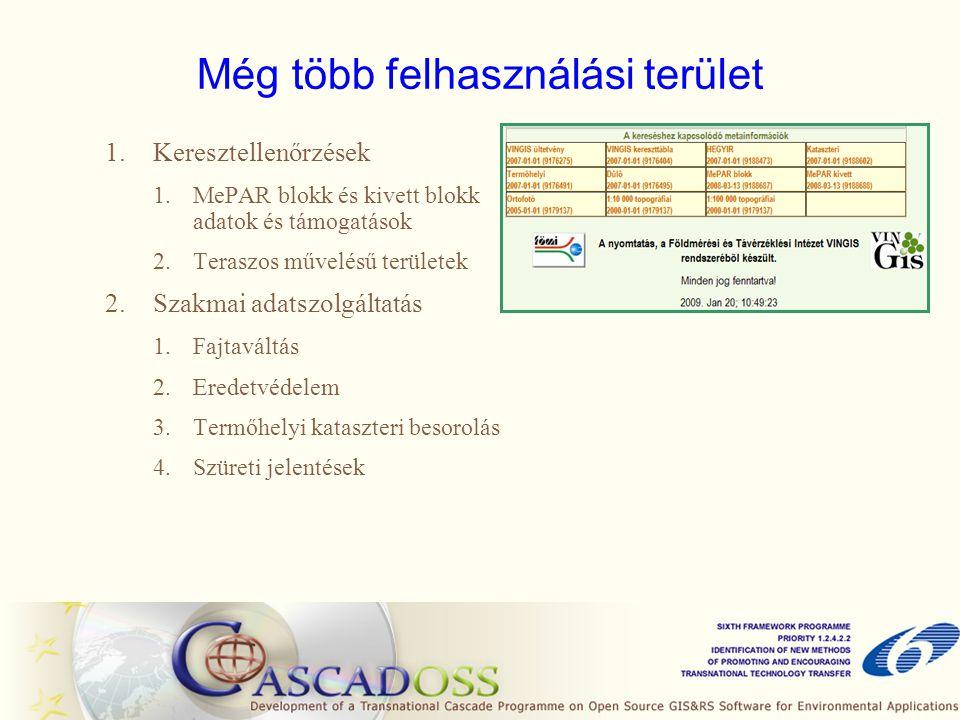 Még több felhasználási terület 1.Keresztellenőrzések 1.MePAR blokk és kivett blokk adatok és támogatások 2.Teraszos művelésű területek 2.Szakmai adats