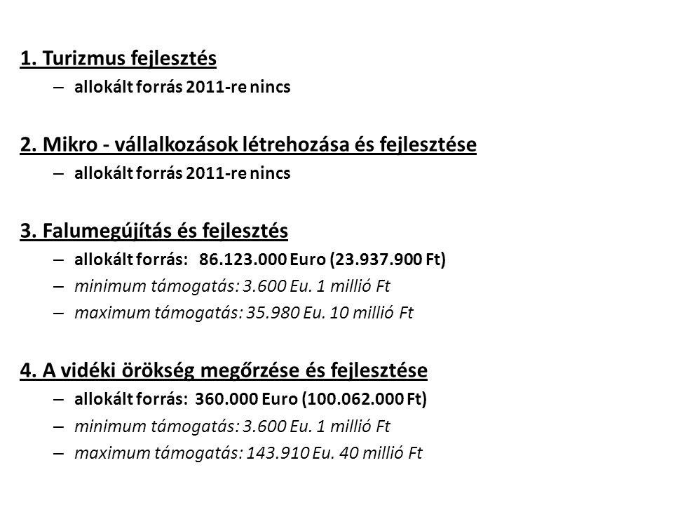 1. Turizmus fejlesztés – allokált forrás 2011-re nincs 2.