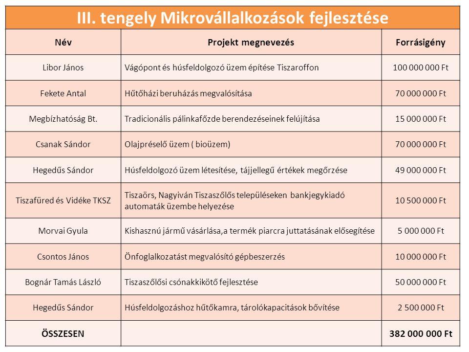 III. tengely Mikrovállalkozások fejlesztése NévProjekt megnevezésForrásigény Libor JánosVágópont és húsfeldolgozó üzem építése Tiszaroffon100 000 000