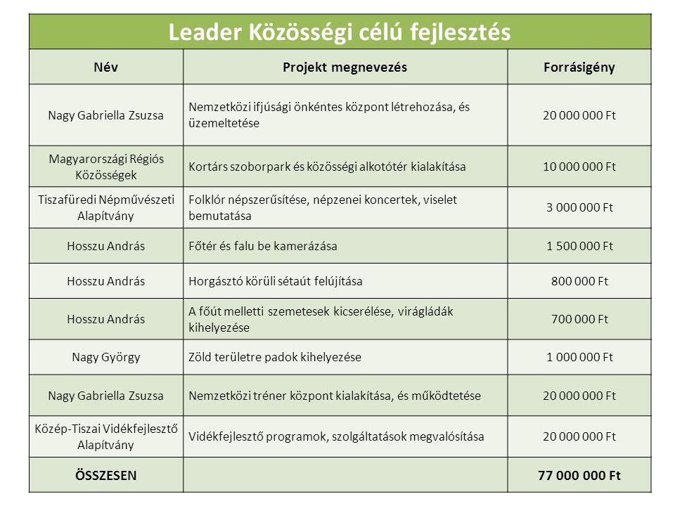 Leader Közösségi célú fejlesztés NévProjekt megnevezésForrásigény Nagy Gabriella Zsuzsa Nemzetközi ifjúsági önkéntes központ létrehozása, és üzemeltetése 20 000 000 Ft Magyarországi Régiós Közösségek Kortárs szoborpark és közösségi alkotótér kialakítása10 000 000 Ft Tiszafüredi Népművészeti Alapítvány Folklór népszerűsítése, népzenei koncertek, viselet bemutatása 3 000 000 Ft Hosszu AndrásFőtér és falu be kamerázása1 500 000 Ft Hosszu AndrásHorgásztó körüli sétaút felújítása800 000 Ft Hosszu András A főút melletti szemetesek kicserélése, virágládák kihelyezése 700 000 Ft Nagy GyörgyZöld területre padok kihelyezése1 000 000 Ft Nagy Gabriella ZsuzsaNemzetközi tréner központ kialakítása, és működtetése20 000 000 Ft Közép-Tiszai Vidékfejlesztő Alapítvány Vidékfejlesztő programok, szolgáltatások megvalósítása20 000 000 Ft ÖSSZESEN 77 000 000 Ft