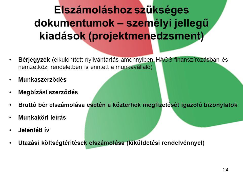 Elszámoláshoz szükséges dokumentumok – személyi jellegű kiadások (projektmenedzsment) Bérjegyzék (elkülönített nyilvántartás amennyiben HACS finanszír