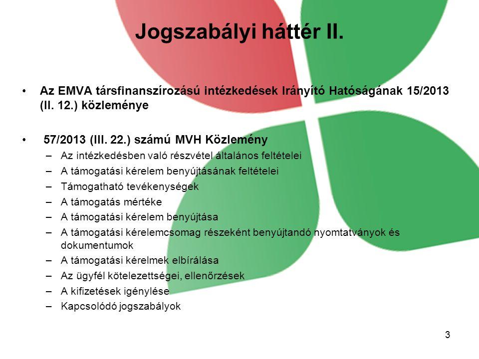 Jogszabályi háttér II. Az EMVA társfinanszírozású intézkedések Irányító Hatóságának 15/2013 (II. 12.) közleménye 57/2013 (III. 22.) számú MVH Közlemén