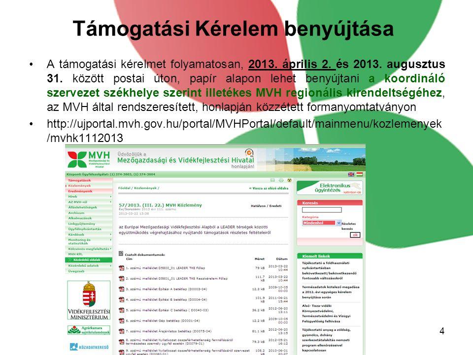 Támogatási Kérelem benyújtása A támogatási kérelmet folyamatosan, 2013. április 2. és 2013. augusztus 31. között postai úton, papír alapon lehet benyú