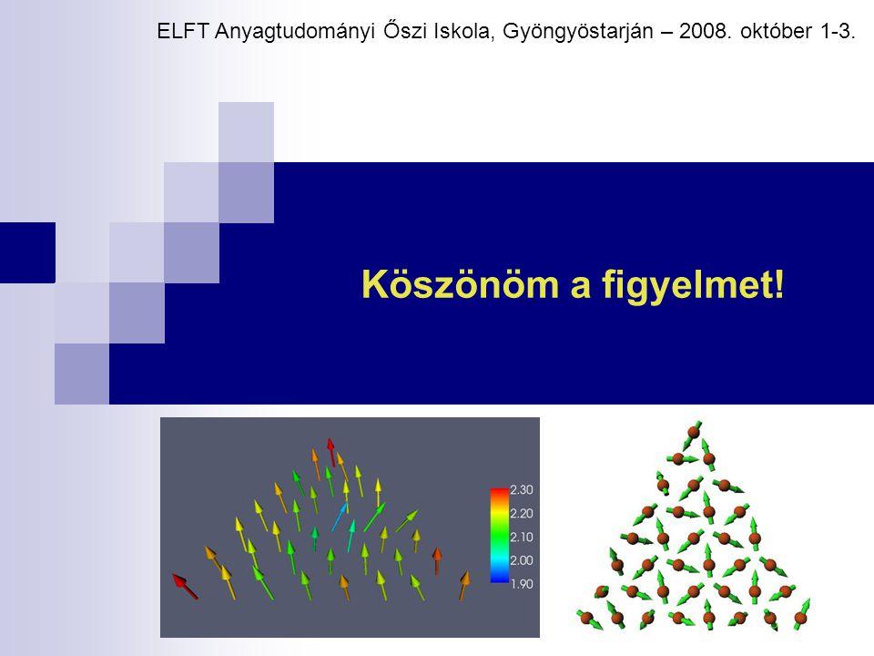 Köszönöm a figyelmet! ELFT Anyagtudományi Őszi Iskola, Gyöngyöstarján – 2008. október 1-3.