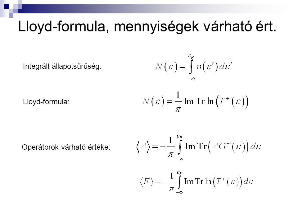 Lloyd-formula, mennyiségek várható ért.