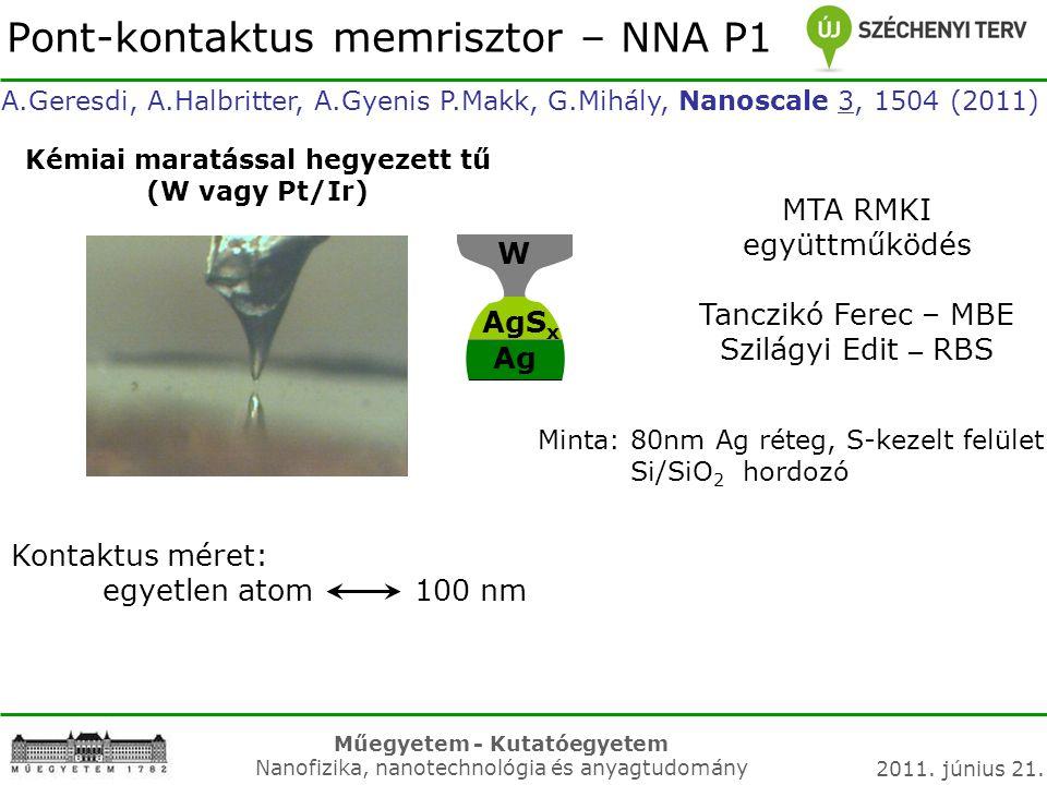 Műegyetem - Kutatóegyetem Nanofizika, nanotechnológia és anyagtudomány 2011. június 21. A.Geresdi, A.Halbritter, A.Gyenis P.Makk, G.Mihály, Nanoscale