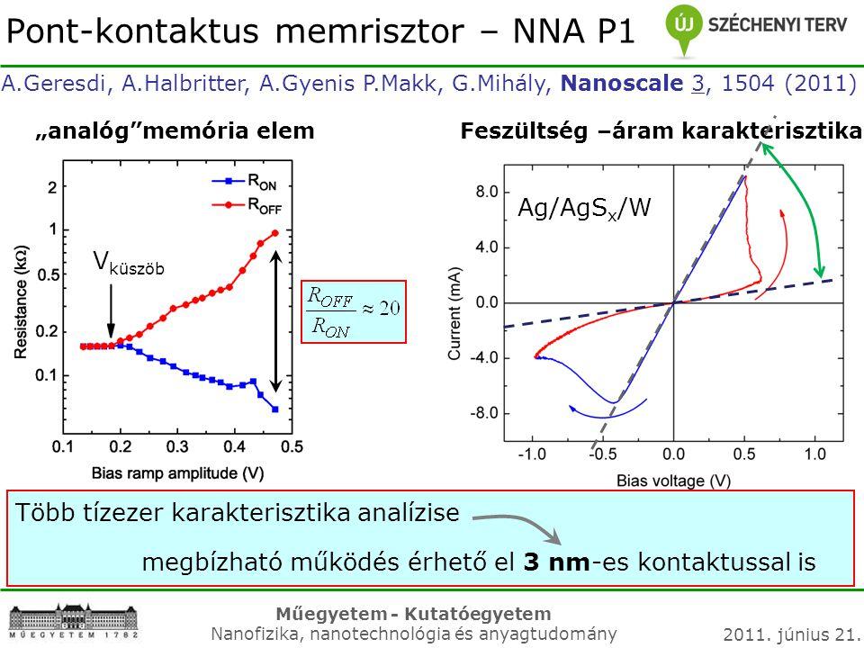 Műegyetem - Kutatóegyetem Nanofizika, nanotechnológia és anyagtudomány 2011. június 21. Több tízezer karakterisztika analízise megbízható működés érhe