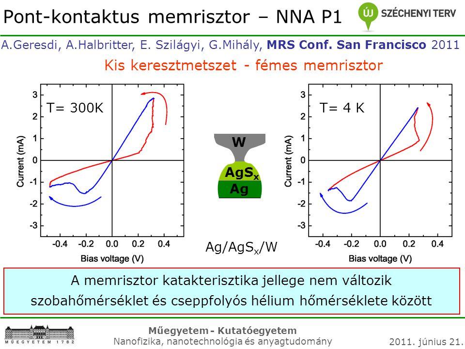 Műegyetem - Kutatóegyetem Nanofizika, nanotechnológia és anyagtudomány 2011. június 21. A.Geresdi, A.Halbritter, E. Szilágyi, G.Mihály, MRS Conf. San