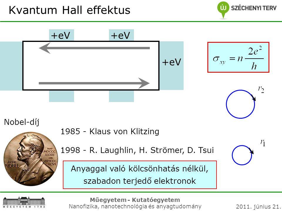 Műegyetem - Kutatóegyetem Nanofizika, nanotechnológia és anyagtudomány 2011. június 21. Kvantum Hall effektus +eV Nobel-díj 1985 - Klaus von Klitzing