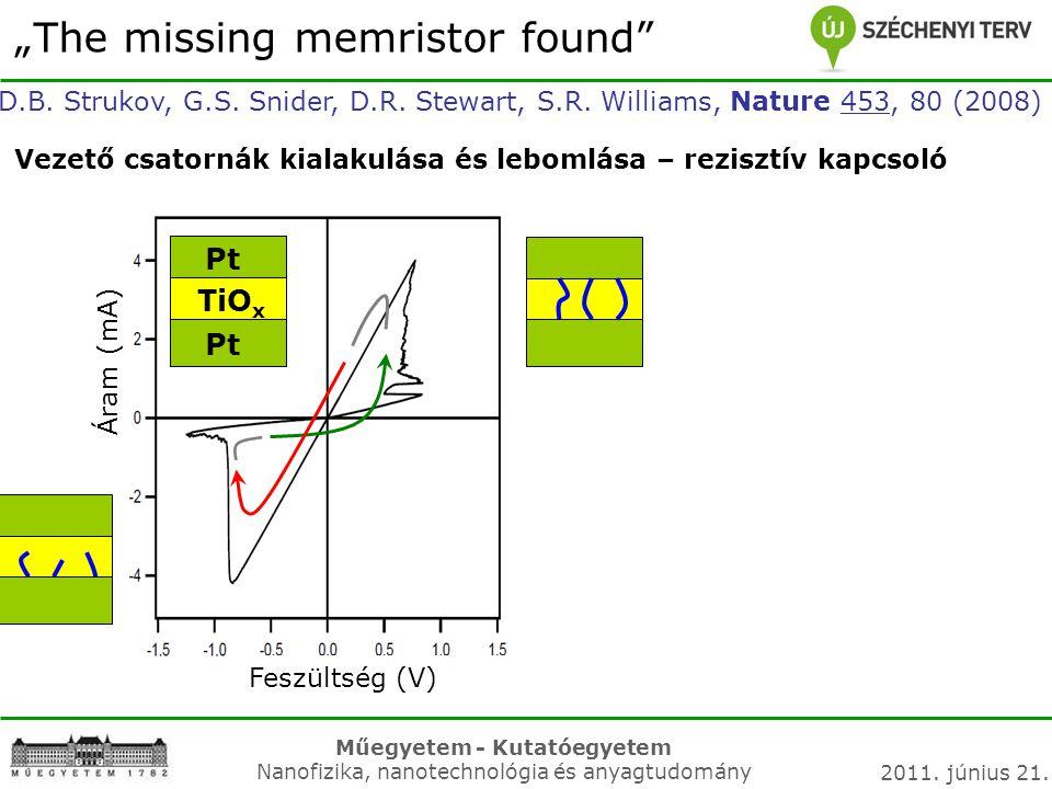 "Műegyetem - Kutatóegyetem Nanofizika, nanotechnológia és anyagtudomány 2011. június 21. ""The missing memristor found"" D.B. Strukov, G.S. Snider, D.R."