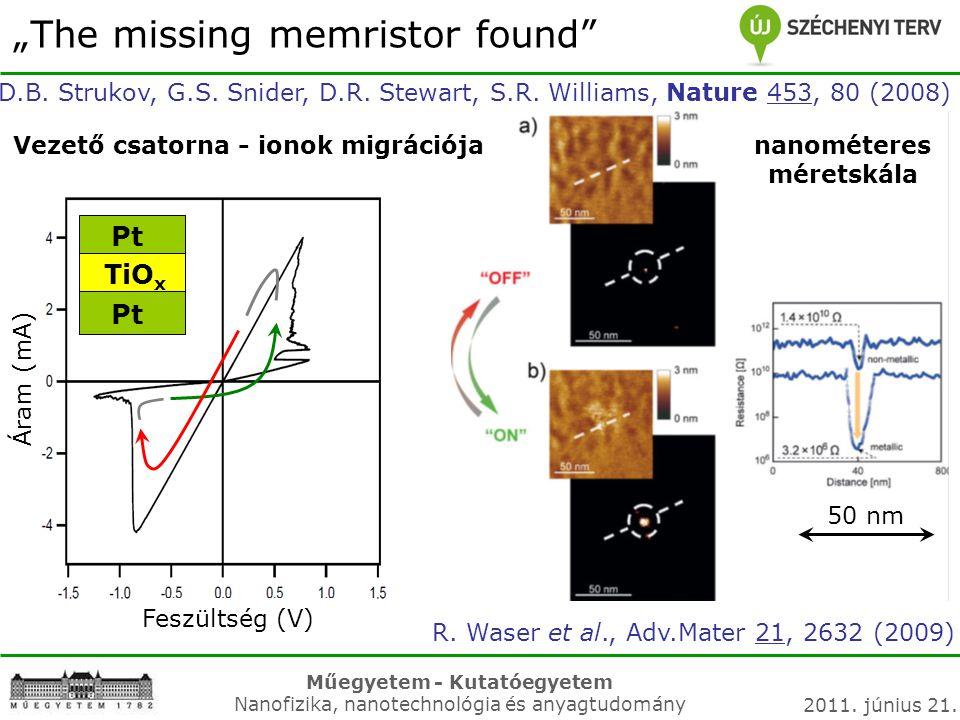 Műegyetem - Kutatóegyetem Nanofizika, nanotechnológia és anyagtudomány 2011. június 21. Pt TiO x Pt Feszültség (V) Vezető csatorna - ionok migrációja