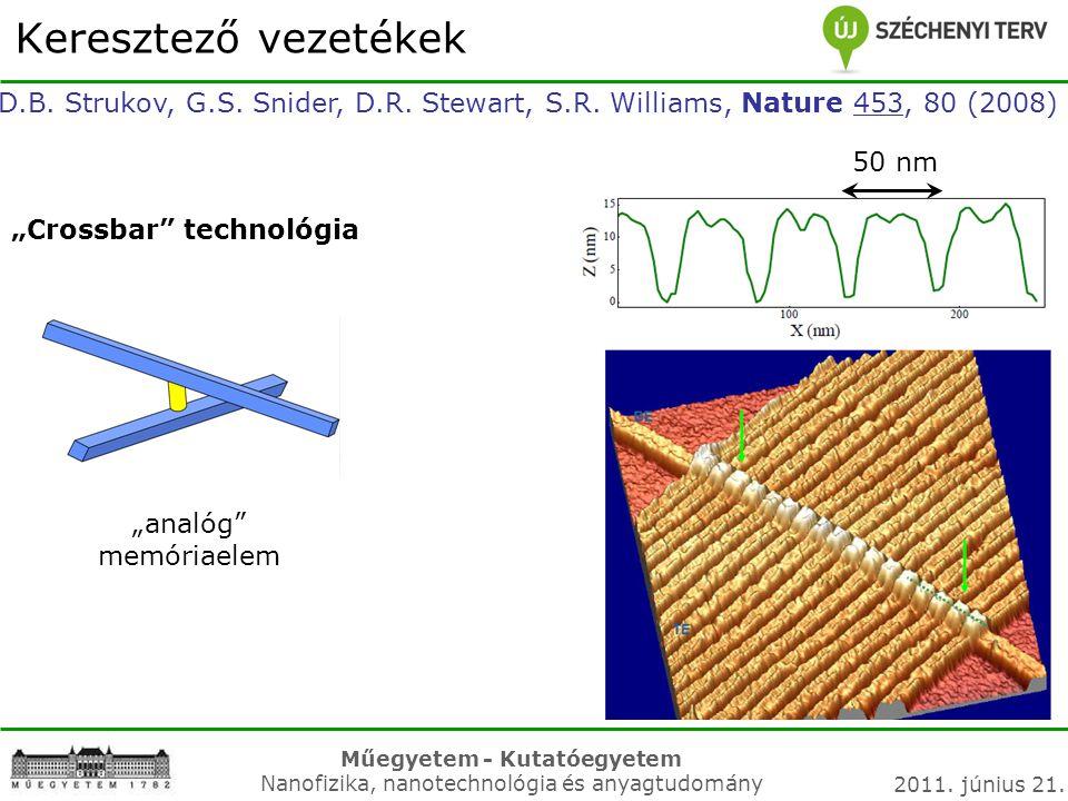 """Műegyetem - Kutatóegyetem Nanofizika, nanotechnológia és anyagtudomány 2011. június 21. Keresztező vezetékek """"Crossbar"""" technológia """"analóg"""" memóriael"""