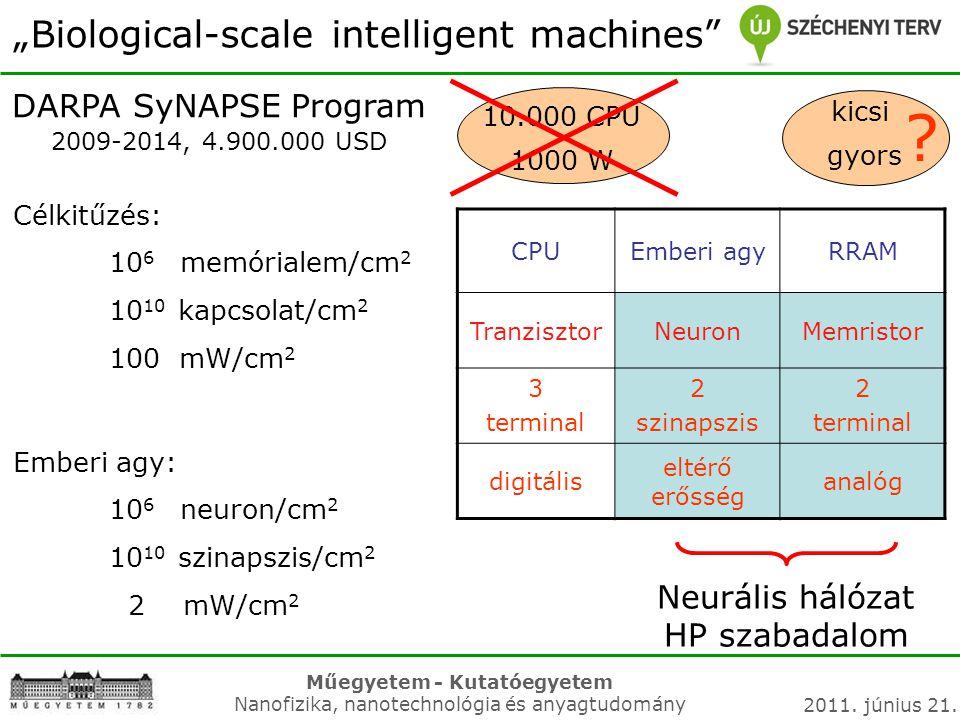 "Műegyetem - Kutatóegyetem Nanofizika, nanotechnológia és anyagtudomány 2011. június 21. ""Biological-scale intelligent machines"" DARPA SyNAPSE Program"