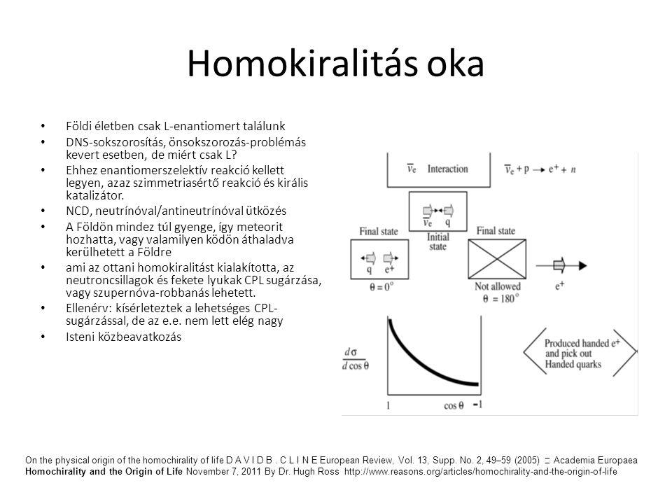 Homokiralitás oka Földi életben csak L-enantiomert találunk DNS-sokszorosítás, önsokszorozás-problémás kevert esetben, de miért csak L? Ehhez enantiom