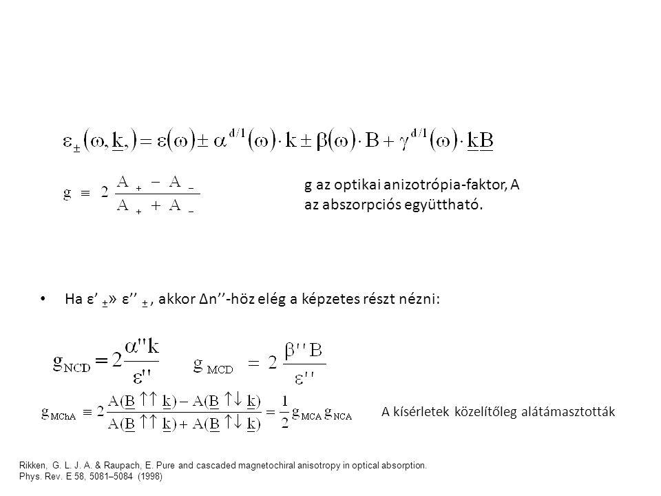 Ha ε' ± » ε'' ±, akkor Δn''-höz elég a képzetes részt nézni: g az optikai anizotrópia-faktor, A az abszorpciós együttható. A kísérletek közelítőleg al
