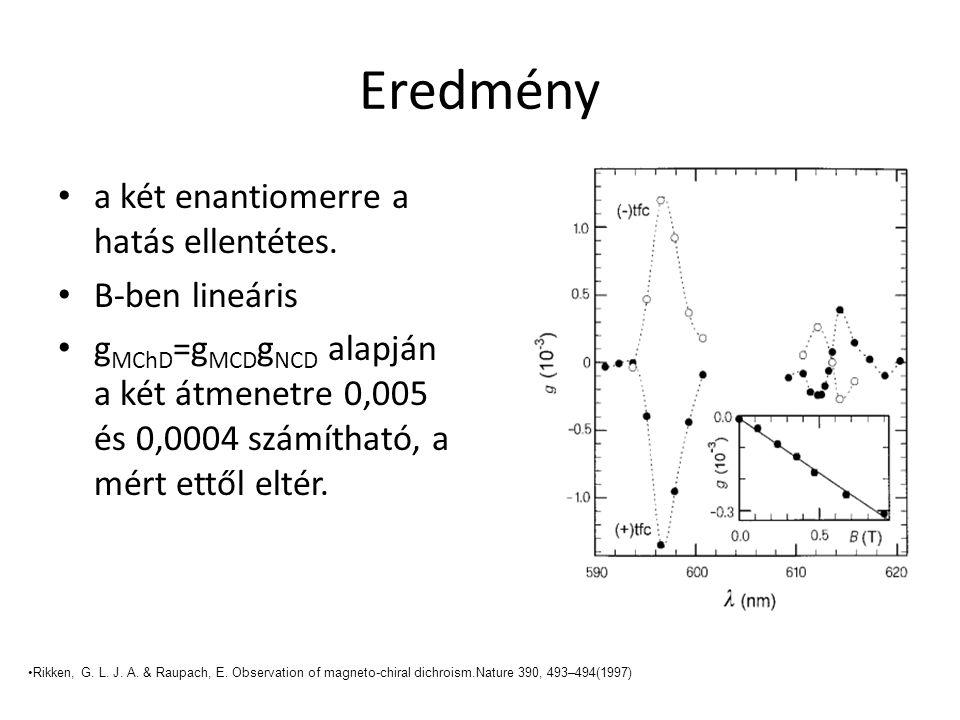 Eredmény a két enantiomerre a hatás ellentétes. B-ben lineáris g MChD =g MCD g NCD alapján a két átmenetre 0,005 és 0,0004 számítható, a mért ettől el