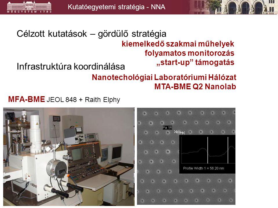 """Kutatóegyetemi stratégia - NNA Célzott kutatások – gördülő stratégia kiemelkedő szakmai műhelyek folyamatos monitorozás """"start-up támogatás Infrastruktúra koordinálása Nanotechológiai Laboratóriumi Hálózat MTA-BME Q2 Nanolab MFA-BME JEOL 848 + Raith Elphy"""