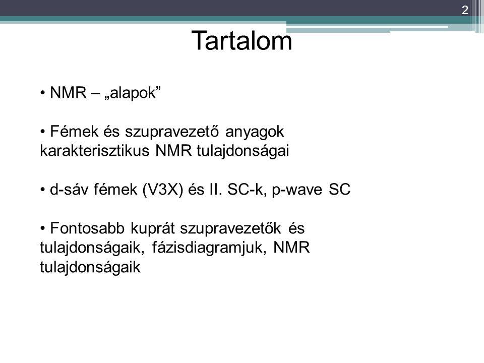 """2 Tartalom NMR – """"alapok"""" Fémek és szupravezető anyagok karakterisztikus NMR tulajdonságai d-sáv fémek (V3X) és II. SC-k, p-wave SC Fontosabb kuprát s"""