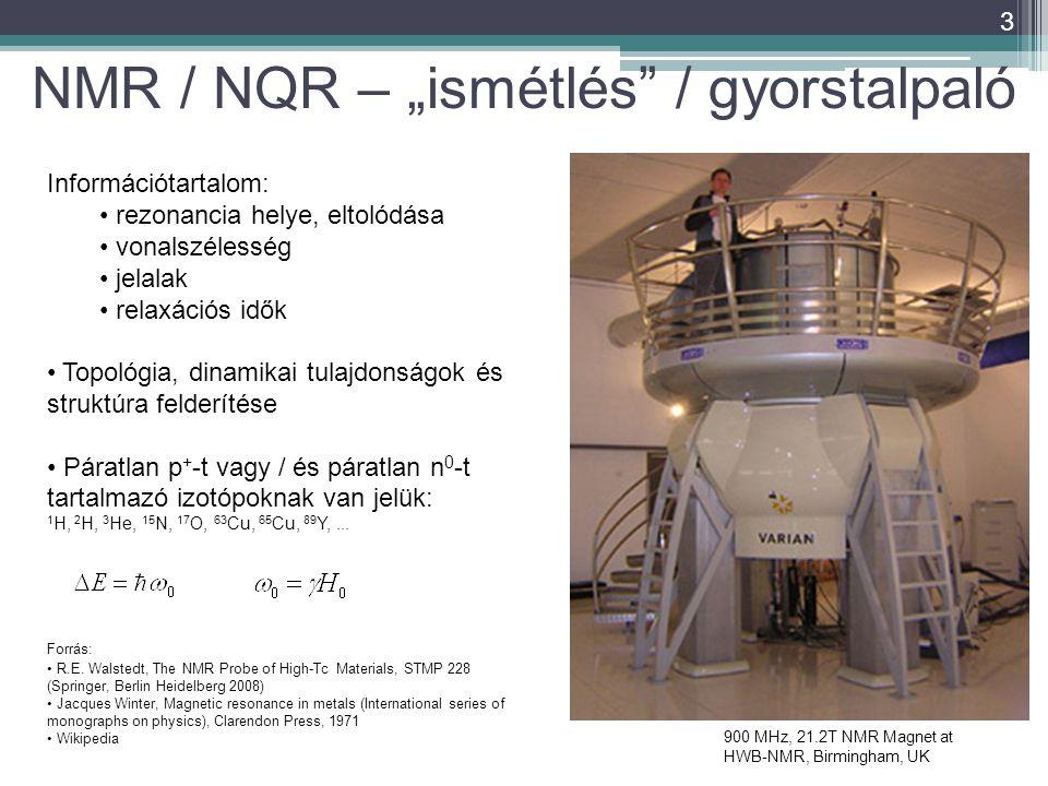 """3 900 MHz, 21.2T NMR Magnet at HWB-NMR, Birmingham, UK NMR / NQR – """"ismétlés / gyorstalpaló Információtartalom: rezonancia helye, eltolódása vonalszélesség jelalak relaxációs idők Topológia, dinamikai tulajdonságok és struktúra felderítése Páratlan p + -t vagy / és páratlan n 0 -t tartalmazó izotópoknak van jelük: 1 H, 2 H, 3 He, 15 N, 17 O, 63 Cu, 65 Cu, 89 Y,..."""