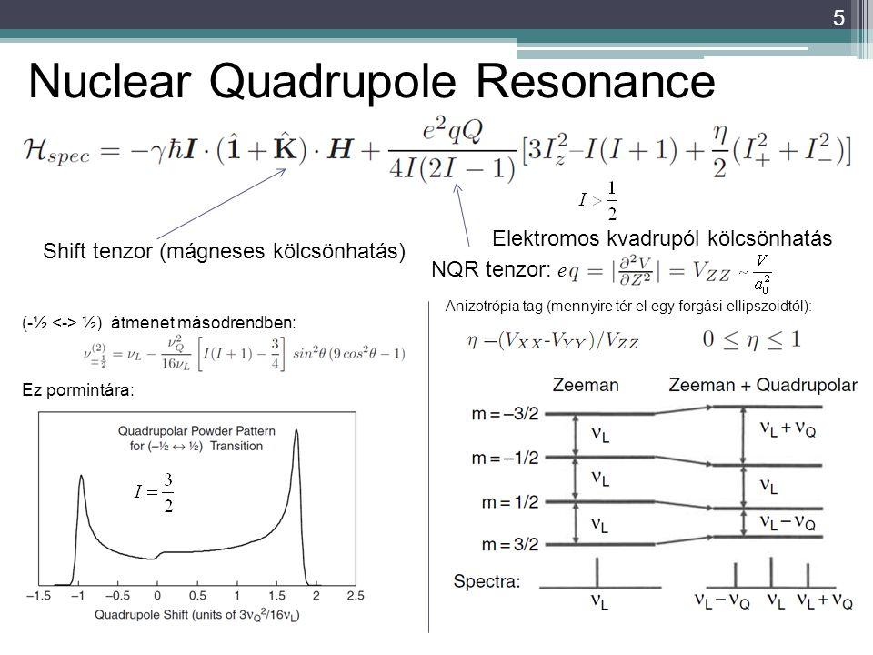5 Shift tenzor (mágneses kölcsönhatás) Elektromos kvadrupól kölcsönhatás NQR tenzor: Anizotrópia tag (mennyire tér el egy forgási ellipszoidtól): (-½ ½) átmenet másodrendben: Ez pormintára: e Nuclear Quadrupole Resonance