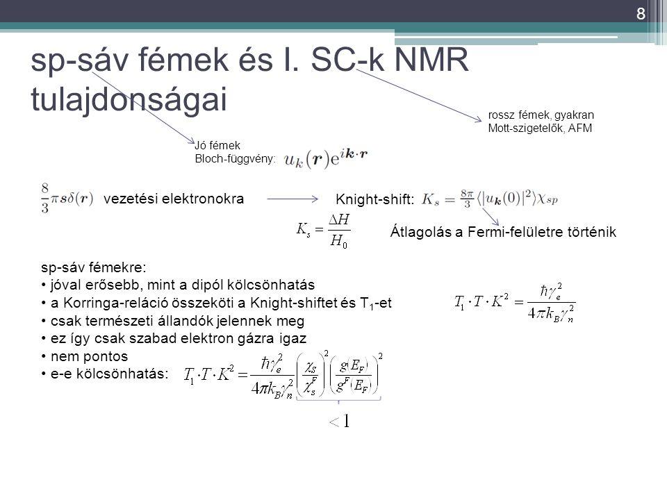 sp-sáv fémek és I. SC-k NMR tulajdonságai 8 Jó fémek Bloch-függvény: rossz fémek, gyakran Mott-szigetelők, AFM Knight-shift: sp-sáv fémekre: jóval erő