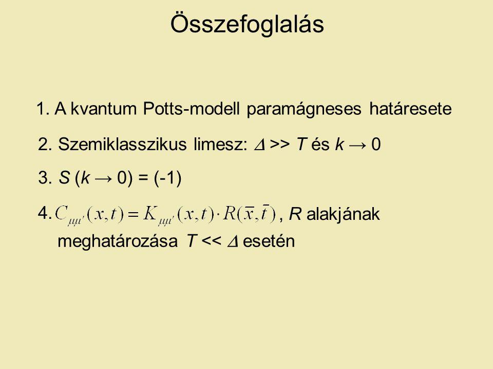 Összefoglalás 1. A kvantum Potts-modell paramágneses határesete 3.