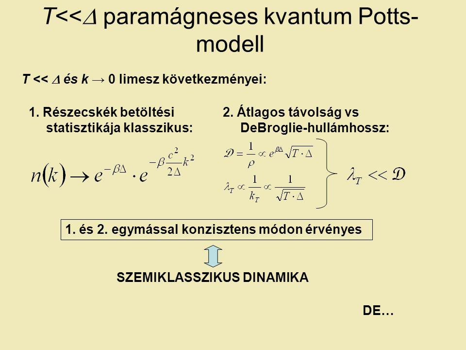 T<<  paramágneses kvantum Potts- modell T <<  és k → 0 limesz következményei: 2.