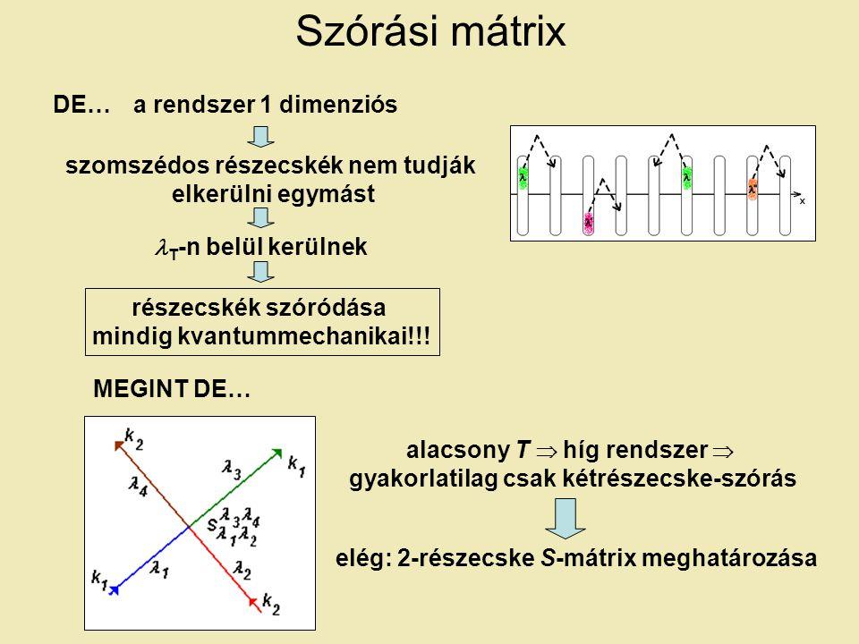 Szórási mátrix DE…a rendszer 1 dimenziós szomszédos részecskék nem tudják elkerülni egymást T -n belül kerülnek részecskék szóródása mindig kvantummechanikai!!.