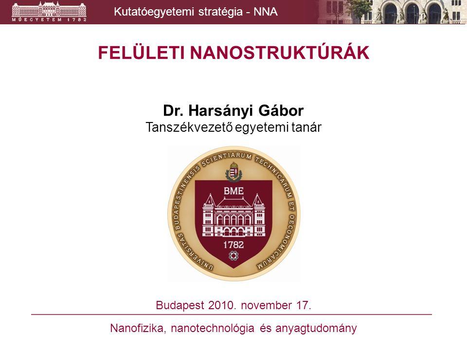 Kutatóegyetemi stratégia - NNA Bioreceptor rétegek és arany vékonyréteg elektródok AFM-es vizsgálata  Cél: - arany vékonyréteg elektródok felületi minősítése, - a nanométeres tartományban mozgó bioreceptor rétegek orientációjának vizsgálata és optimalizálása, Példa: - DNS nanoborotválás / nanobeültetés
