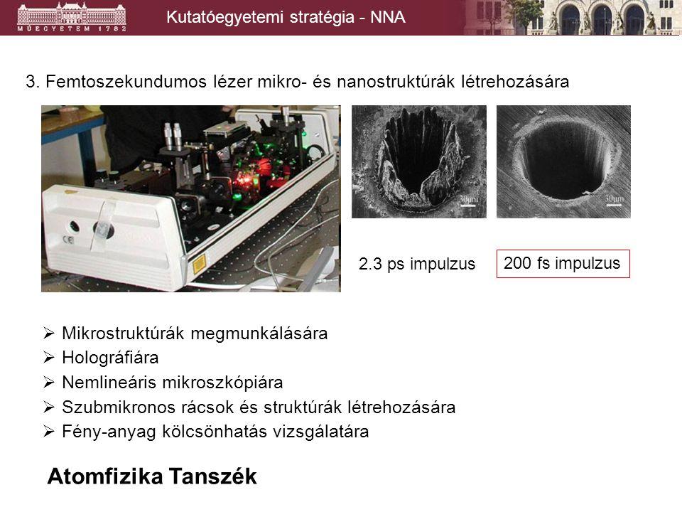 Kutatóegyetemi stratégia - NNA Felületi nanostruktúrák vizsgálata  Transzport a nano mérettartományban  Mikroszkopikus struktúrák  Kézzelfogható hibajelenségek.
