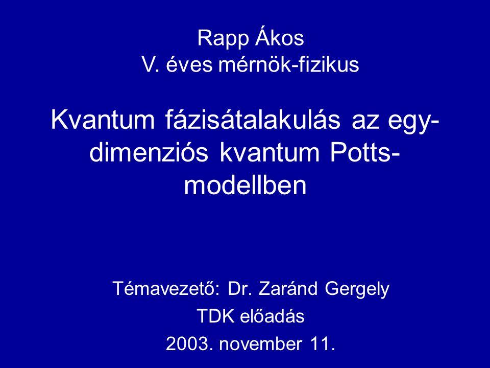 Kvantum fázisátalakulás az egy- dimenziós kvantum Potts- modellben Témavezető: Dr. Zaránd Gergely TDK előadás 2003. november 11. Rapp Ákos V. éves mér