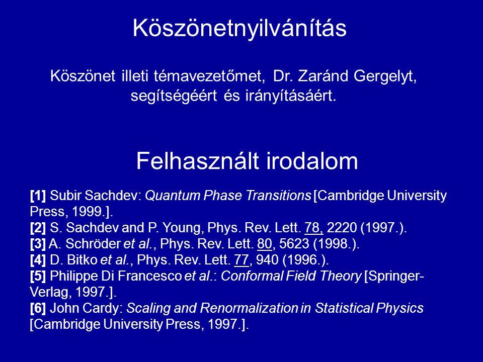 Köszönetnyilvánítás Felhasznált irodalom [1] Subir Sachdev: Quantum Phase Transitions [Cambridge University Press, 1999.]. [2] S. Sachdev and P. Young