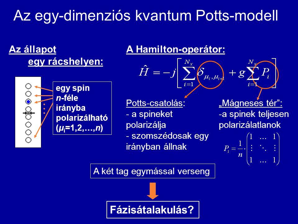 """Az egy-dimenziós kvantum Potts-modell Potts-csatolás: - a spineket polarizálja - szomszédosak egy irányban állnak """"Mágneses tér"""": -a spinek teljesen p"""