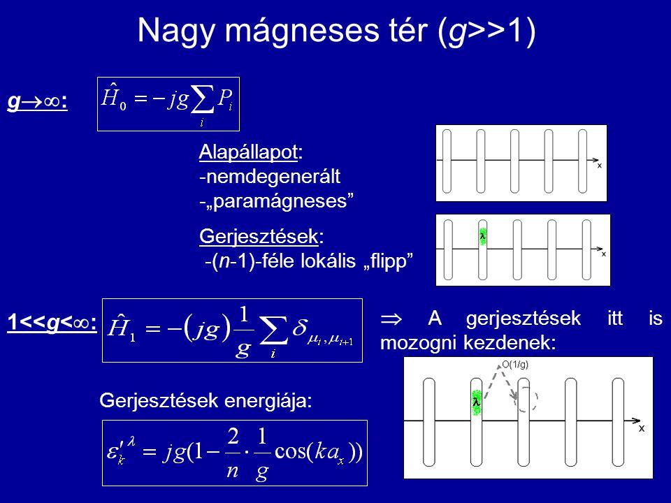 """Nagy mágneses tér (g>>1) Alapállapot: -nemdegenerált -""""paramágneses"""" Gerjesztések: -(n-1)-féle lokális """"flipp"""" 1<<g<  :  A gerjesztések itt is mozog"""