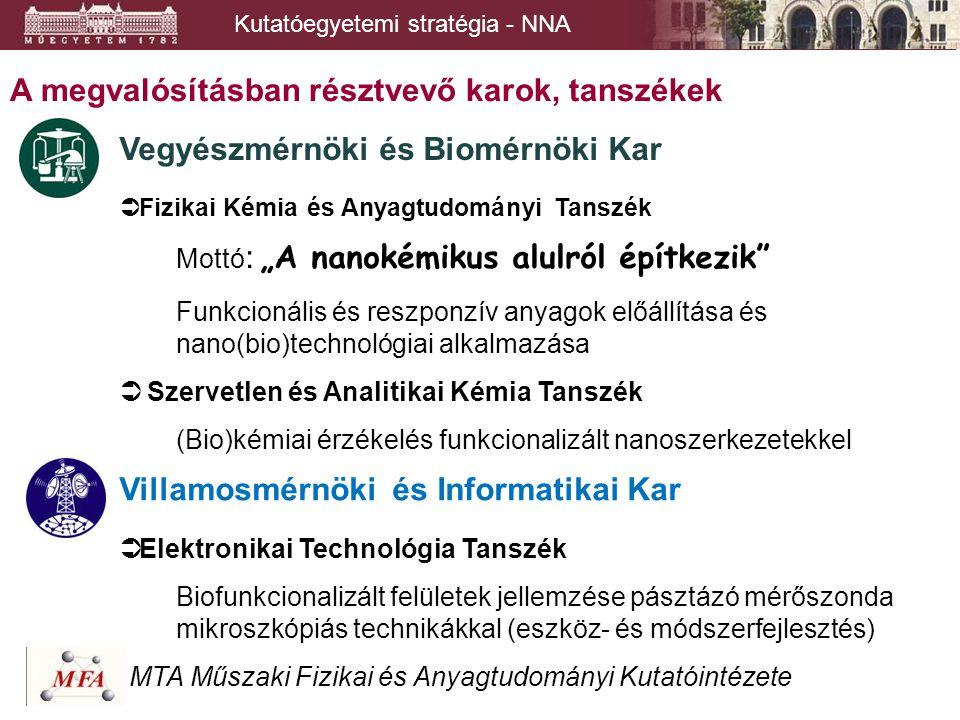 """A megvalósításban résztvevő karok, tanszékek Vegyészmérnöki és Biomérnöki Kar  Fizikai Kémia és Anyagtudományi Tanszék Mottó : """"A nanokémikus alulról"""