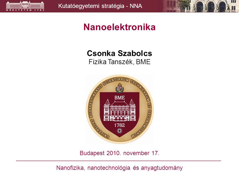 Nanoelektronika Csonka Szabolcs Fizika Tanszék, BME Budapest 2010. november 17. Nanofizika, nanotechnológia és anyagtudomány Kutatóegyetemi stratégia