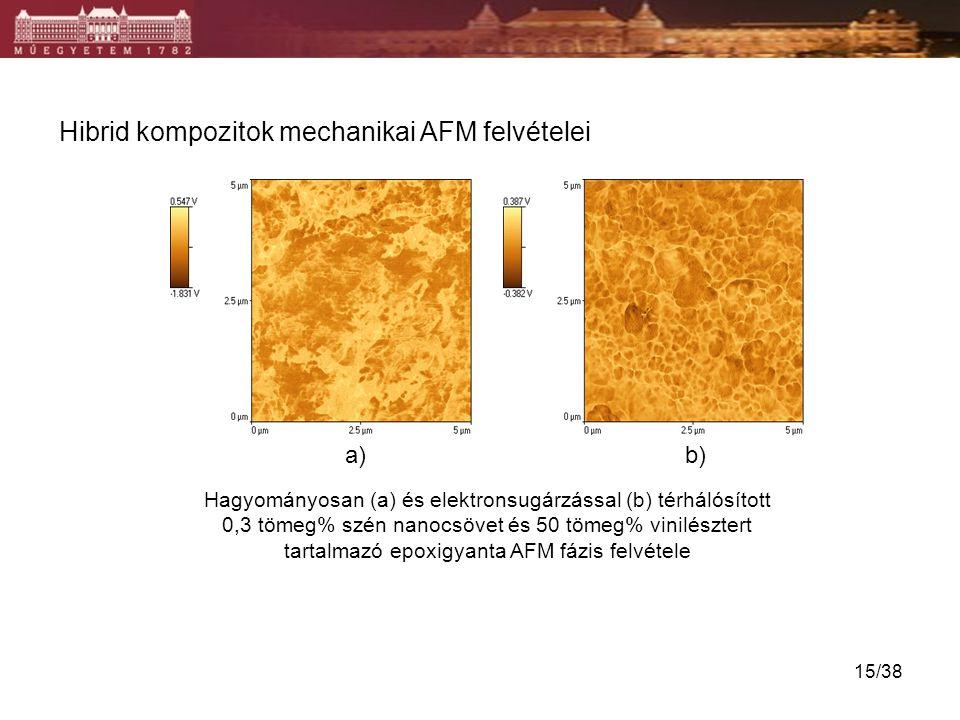 Hagyományosan (a) és elektronsugárzással (b) térhálósított 0,3 tömeg% szén nanocsövet és 50 tömeg% vinilésztert tartalmazó epoxigyanta AFM fázis felvé