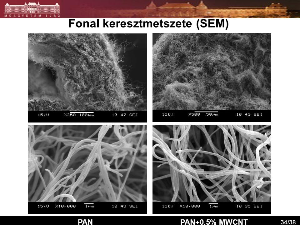 Fonal keresztmetszete (SEM) PAN PAN+0,5% MWCNT 34/38