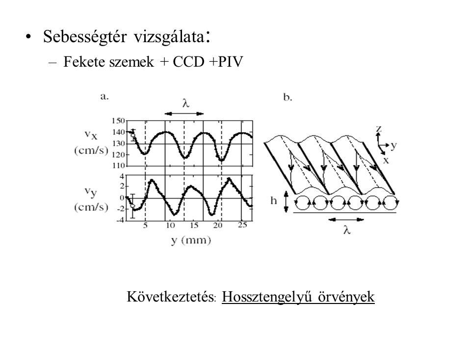 Sebességtér vizsgálata : –Fekete szemek + CCD +PIV (Csak a felszínen mozgó részecskéket látjuk, de a többit majd kitaláljuk valahogy ) Következtetés : Hossztengelyű örvények