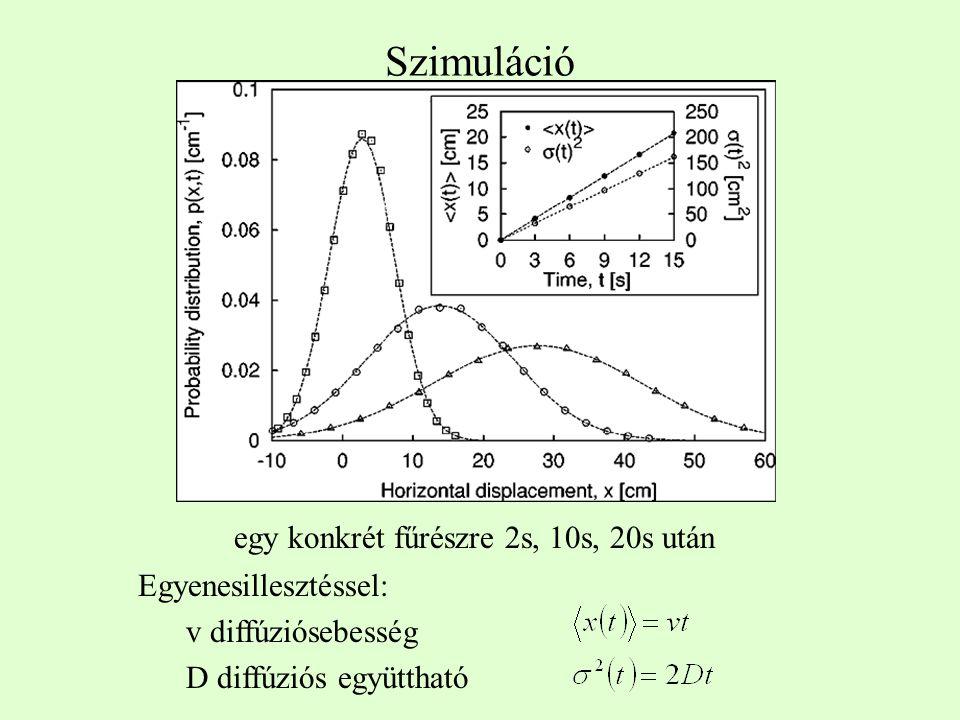 Szimuláció egy konkrét fűrészre 2s, 10s, 20s után Egyenesillesztéssel: v diffúziósebesség D diffúziós együttható
