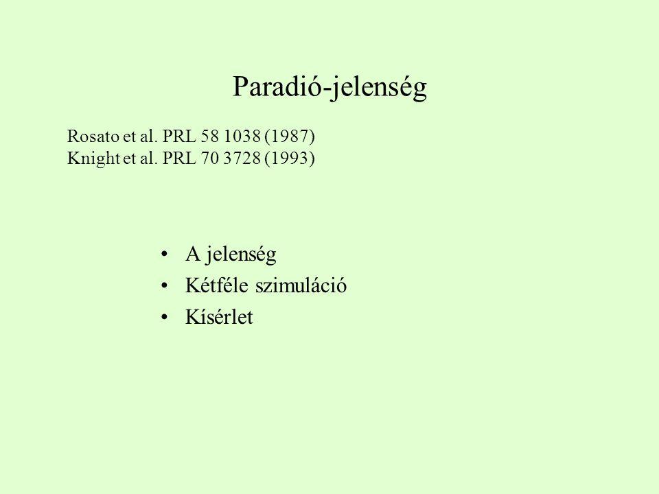 A jelenség Kétféle szimuláció Kísérlet Paradió-jelenség Rosato et al.