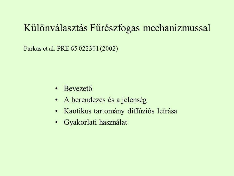 Különválasztás Fűrészfogas mechanizmussal Bevezető A berendezés és a jelenség Kaotikus tartomány diffúziós leírása Gyakorlati használat Farkas et al.