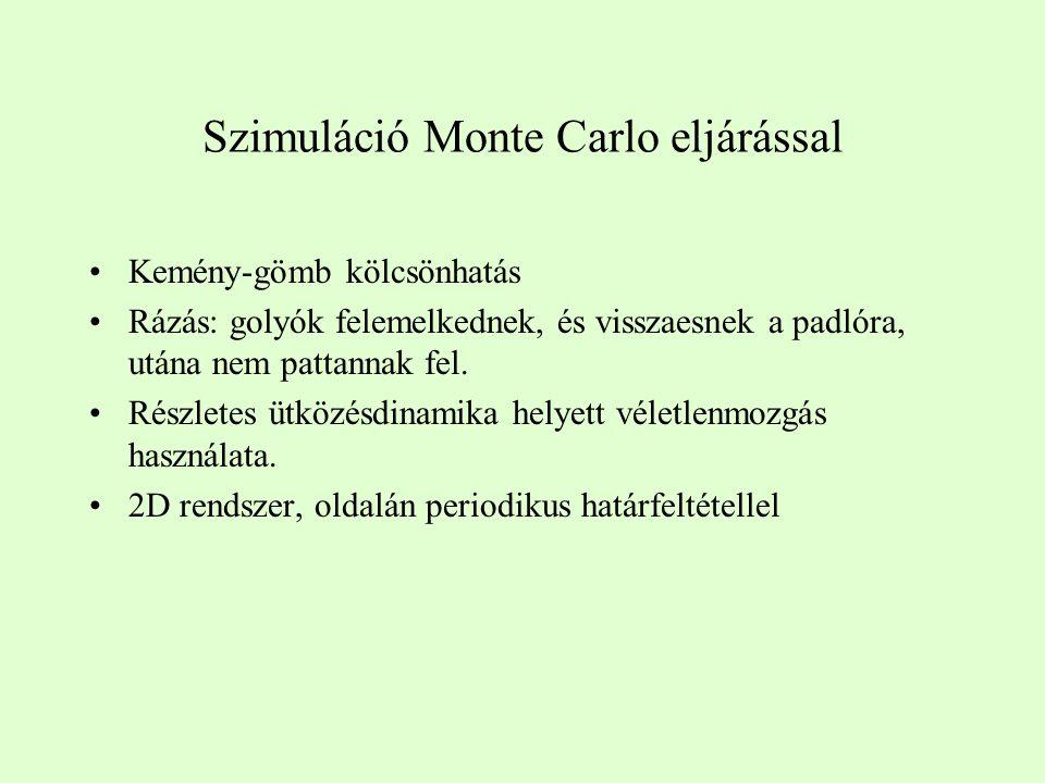 Szimuláció Monte Carlo eljárással Kemény-gömb kölcsönhatás Rázás: golyók felemelkednek, és visszaesnek a padlóra, utána nem pattannak fel.