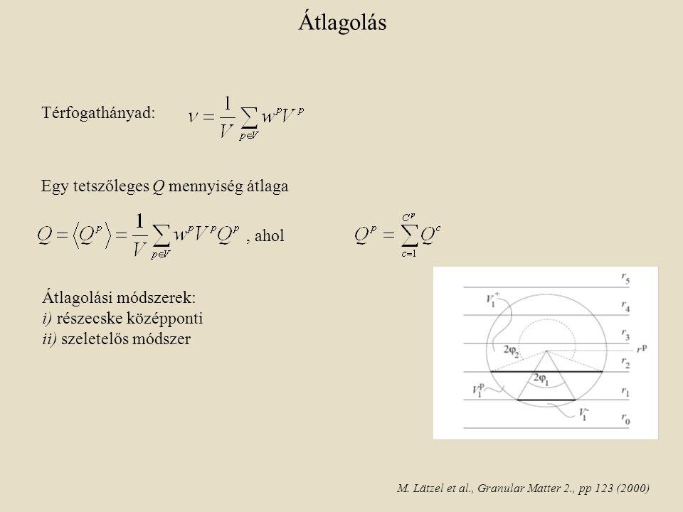Átlagolási módszerek: i) részecske középponti ii) szeletelős módszer Átlagolás Térfogathányad: Egy tetszőleges Q mennyiség átlaga, ahol