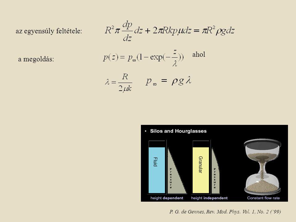 ahol az egyensúly feltétele: a megoldás: P. G. de Gennes, Rev. Mod. Phys. Vol. 1, No. 2 ('99)