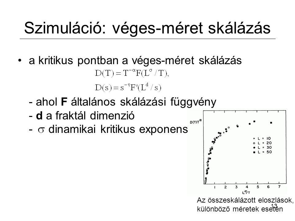 13 Szimuláció: véges-méret skálázás a kritikus pontban a véges-méret skálázás - ahol F általános skálázási függvény - d a fraktál dimenzió - dinamikai kritikus exponens Az összeskálázott eloszlások, különböző méretek esetén