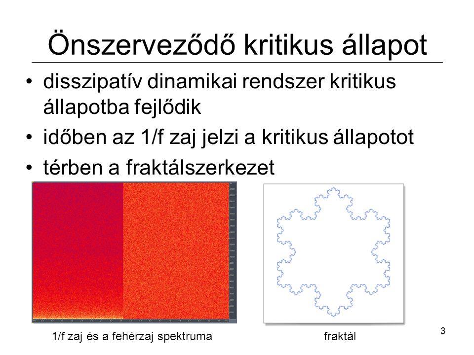 14 Összehasonlítás a mérésekkel valójában két kritikus rézsüszög van  elsőrendű fázisátalakulás a kísérletek többsége nem igazolta az 1/f zajspektrumot (forgó dob, lejtő) néhány pozitív kísérlet: - homokkúpra ejtett üveggyöngyök - anizotróp szemcsék (rizs) önszerveződést mutatnak