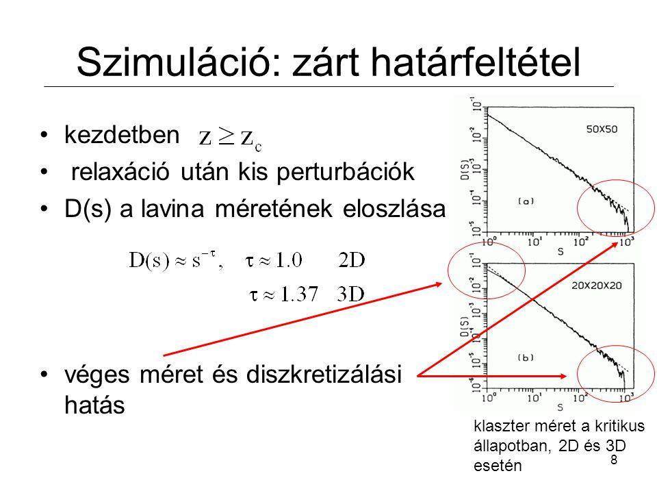 8 Szimuláció: zárt határfeltétel kezdetben relaxáció után kis perturbációk D(s) a lavina méretének eloszlása véges méret és diszkretizálási hatás klaszter méret a kritikus állapotban, 2D és 3D esetén